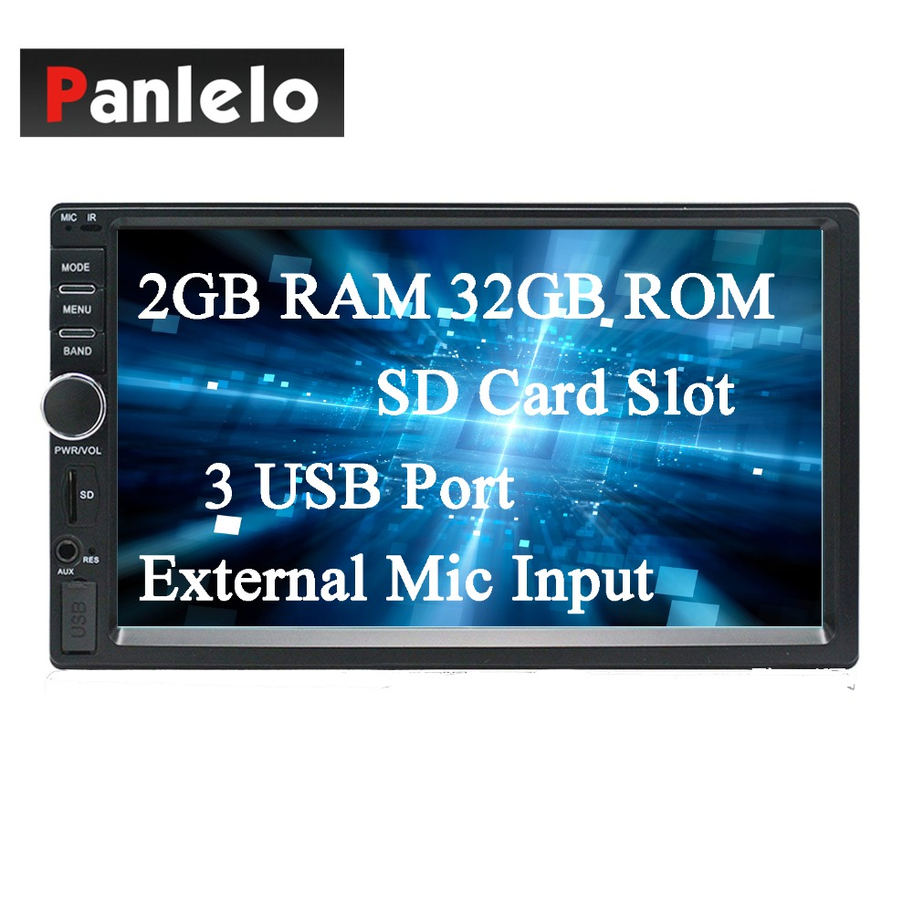 Panlelo S1 Plus 2 DIN Android Car Stereo 2GB RAM 32GB ROM Car GPS Navigation Auto Radio AM/FM 7 inch Touch Screen Bluetooth Cam android 7 1 double din car stereo car gps navigation 7 car radio head unit bt wifi swc octa core 2gb 32gb rom am fm 4g dongle