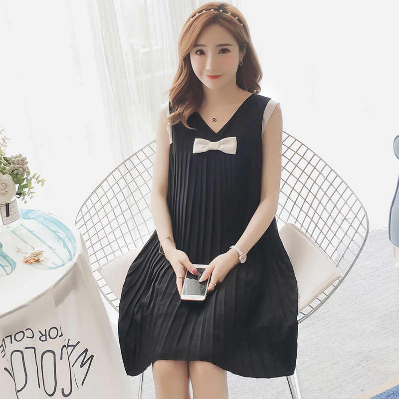 97f5a88e48a87 Detail Feedback Questions about 131# Summer Korean Fashion Maternity Dress  Sweet Tank Sleeveless Pleat Chiffon Clothes for Pregnant Women V Neck Loose  ...