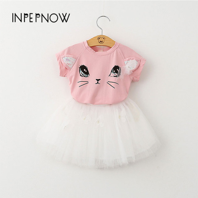 INPEPNOW Spring & Summer girls dresses for party and wedding Short Sleeve Set Cute Cat T-shirt Puffy Baby kids dresses LYQ-CZX40