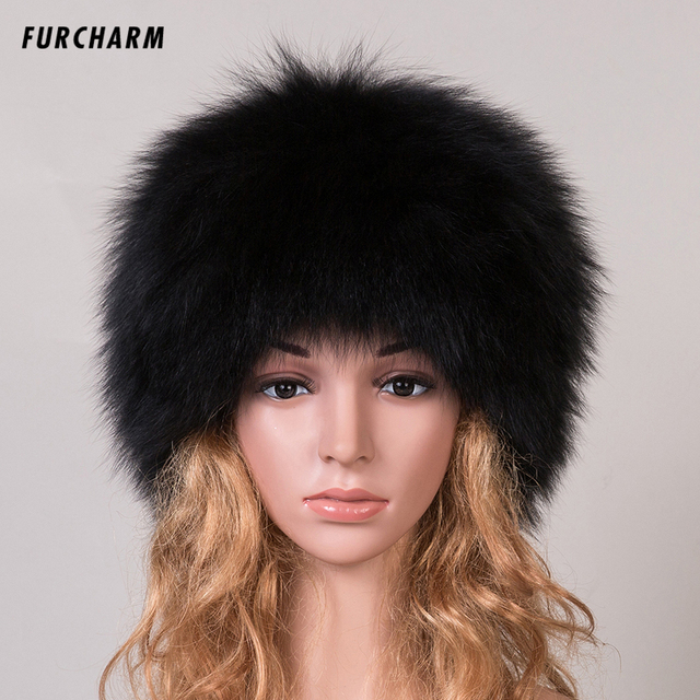 2016 New Women 's Genuine Fox Fur Beanies Russian Winter Fur Hat 100% Real Fox Fur Hat Casual Black / White Dome Mongolian Caps