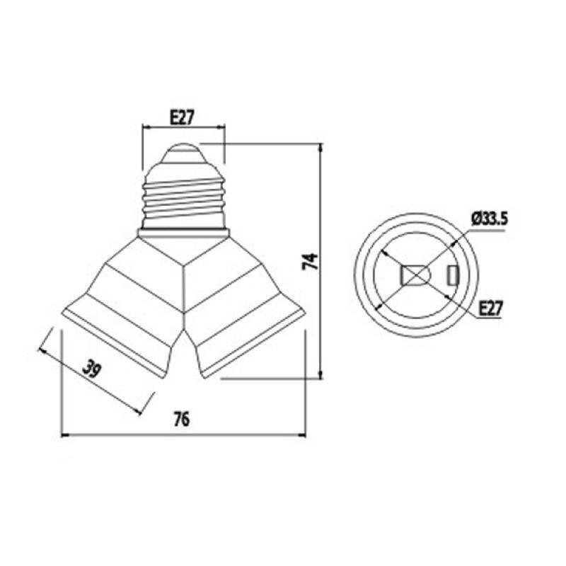 High Quality E27 To 2e27 Double Socket Lamp Base Lamp Holder