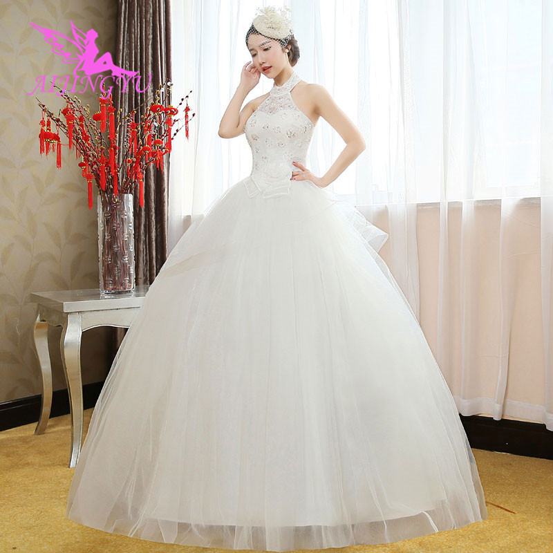 AIJINGYU 2018 White Free Shipping New Hot Selling Cheap Ball Gown Lace Up Back Formal Bride Dresses Wedding Dress WK559