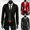 Abrigos para hombre Nueva Moda Rojo Negro Gris Oscuro Largo Trench Coat Hombres cardigan estilo Homme Manteau Gabardina Especial