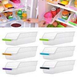Strona główna lodówka do kuchni organizator oszczędzający miejsce slajd pod stelaż półki uchwyt do przechowywania pojemnik na jedzenie pojemnik do przechowywania w Półki i uchwyty od Dom i ogród na