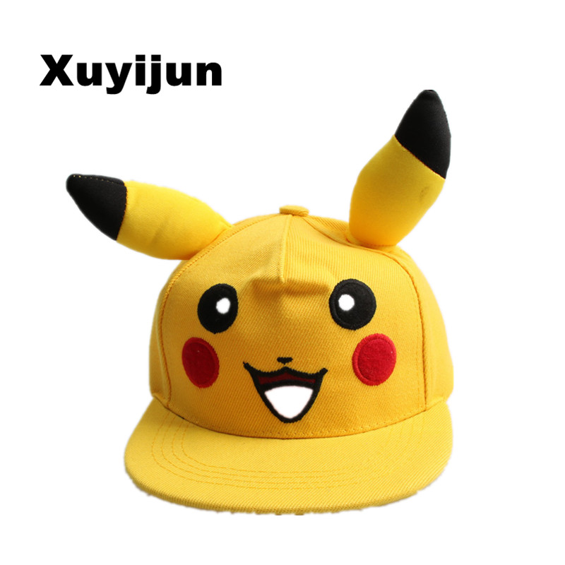 Xuyijun Japanese Famous Animation Cartoon Comic Cute Lovely Pokemon GO  Pikachu Flat Snapback Caps Hat for  Men Women child cap new cartoon pikachu cosplay cap black novelty anime pocket monster ladies dress pokemon go hat charms costume props baseball cap