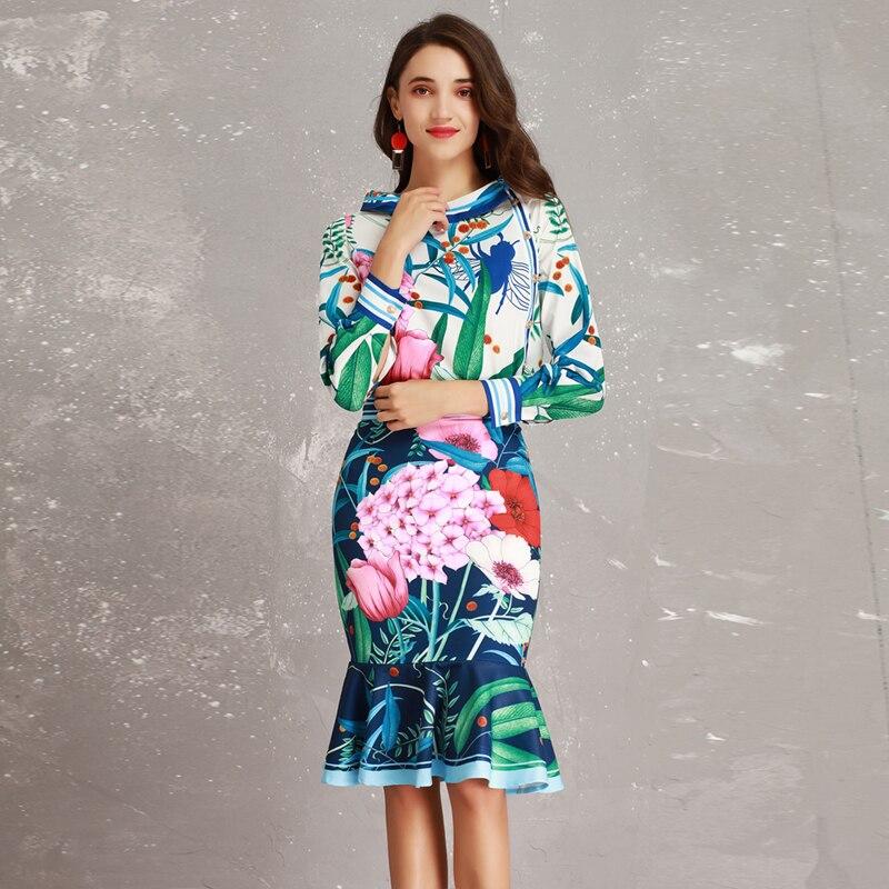 Gamme Jupe Sirène Manches Longues Twin Femmes 2019 Nouvelle Chemisier Costumes Grand Printemps Haut De sets Designer Imprimer Col Piste Été nBZxw5