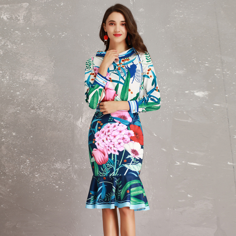 High end New 2019 Spring Summer Runway Designer Print Long Sleeve Large Collar Blouse + Mermaid Skirt Suits Women Twinsets-in Women's Sets from Women's Clothing    2