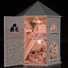 Gifts New Brand DIY Doll Houses Wooden Doll House Unisex 3d dollhouse Furniture Toy Doll House Miniature Furniture crafts 13816(China)