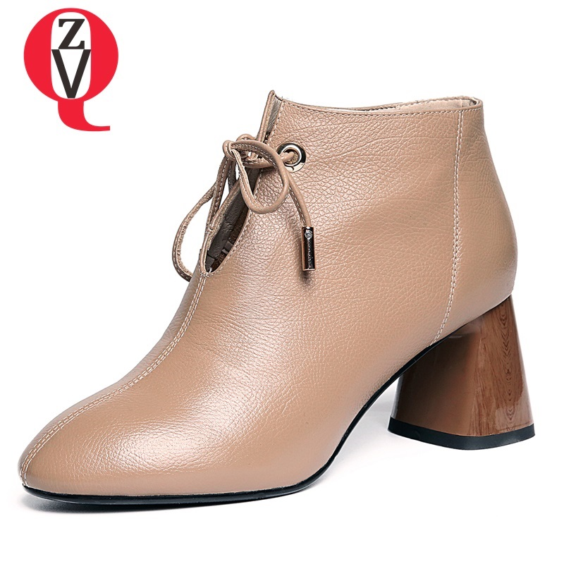 ZVQ women boots 2018 newest hot sale handmade genuine leather shoes round toe high square heels lace-up winter plush ankle boots artka women s winter vintage solid round toe all match high heel lace up soft genuine leather shoes pre sale xd16832d