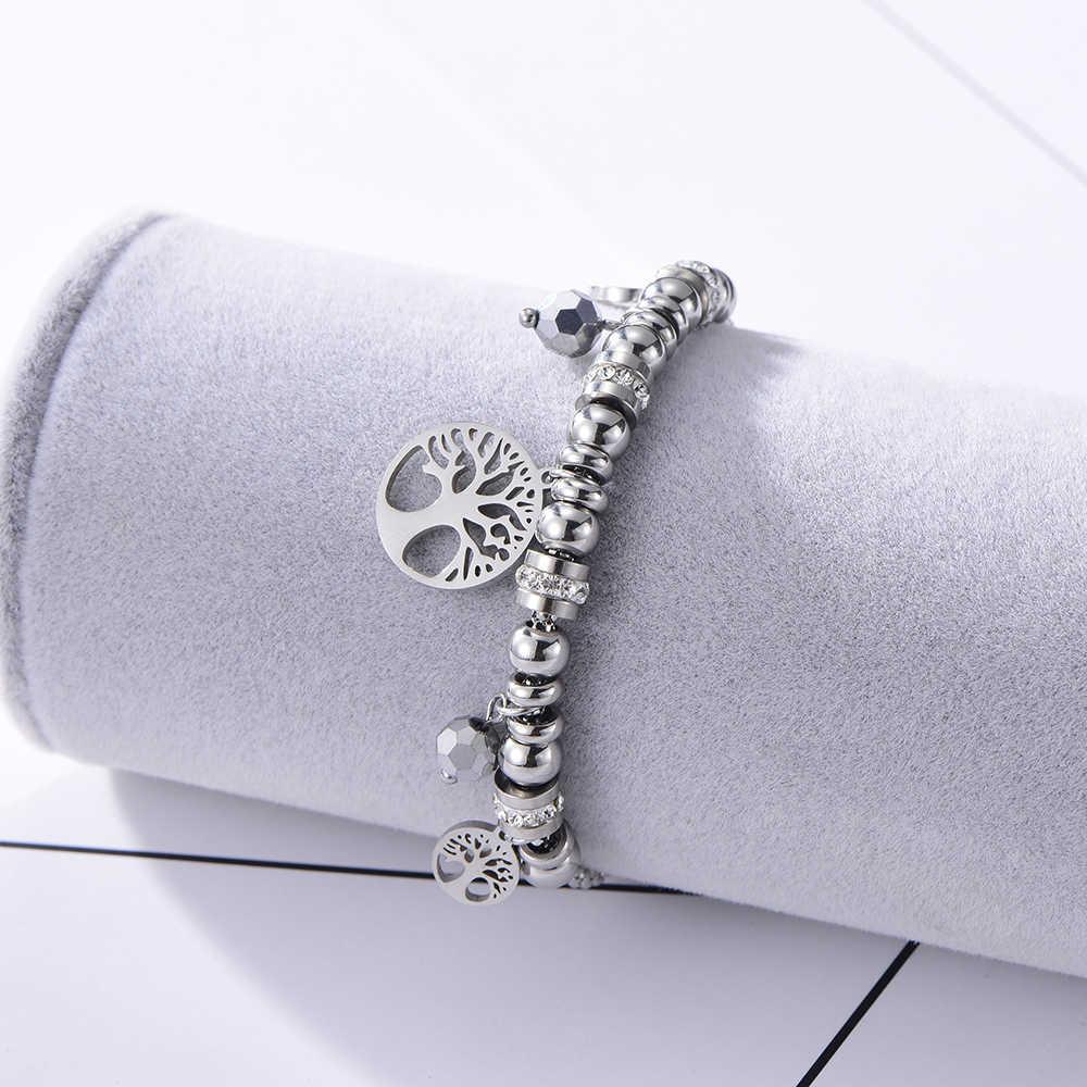 Multi Perle In Acciaio Inox Con Bracciali di Cristallo di Modo Delle Donne Albero Della Vita Pendenti e Ciondoli Braccialetti di Perline Con Strass Popcorn Gioielli