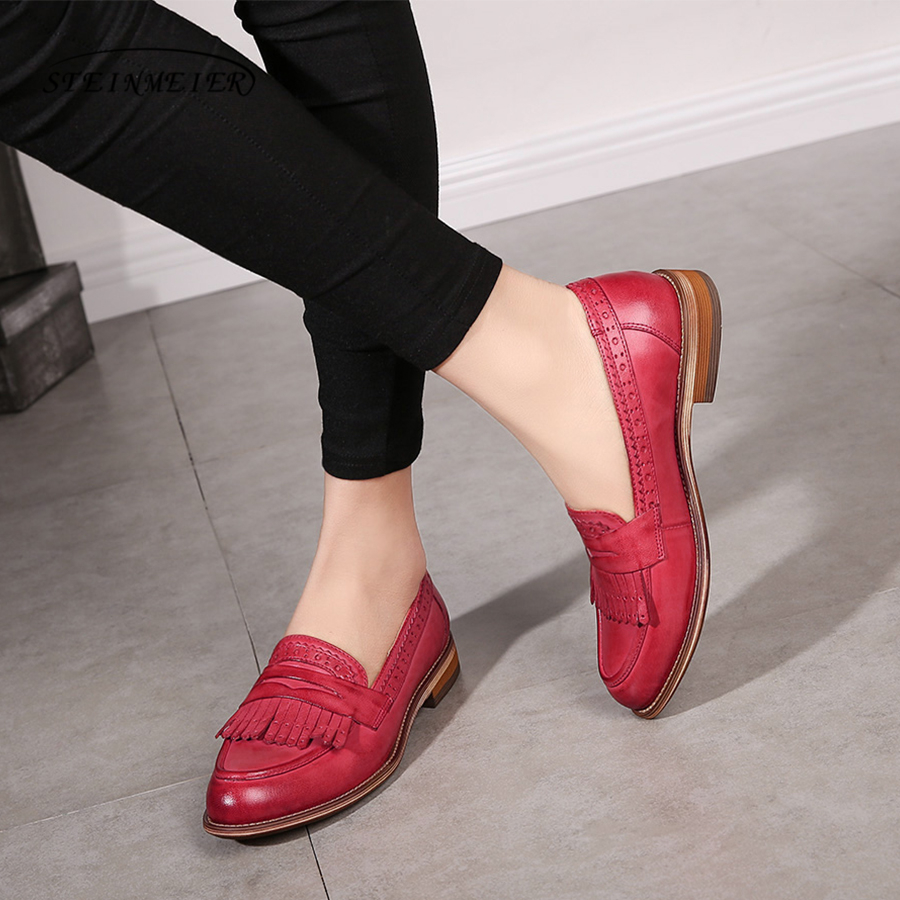 Women natrual leather yinzo flat oxford shoes woman vintage round toe handmade sneaker red brown oxford shoes for women 2018 women natrual leather yinzo brogues flat oxford shoes woman vintage handmade sneaker oxford shoes for women 2018 red brown pink