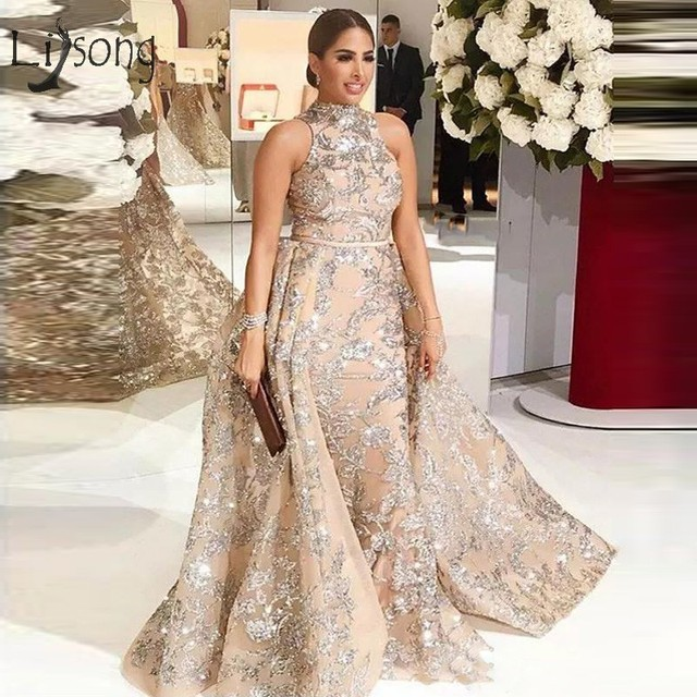 Abiye Sparkle Crystal Prom Dresses With Overskirt Luxury Champagne Long Mermaid  Prom Gowns High Collar Middle East Abendkleider c5b58a5db670