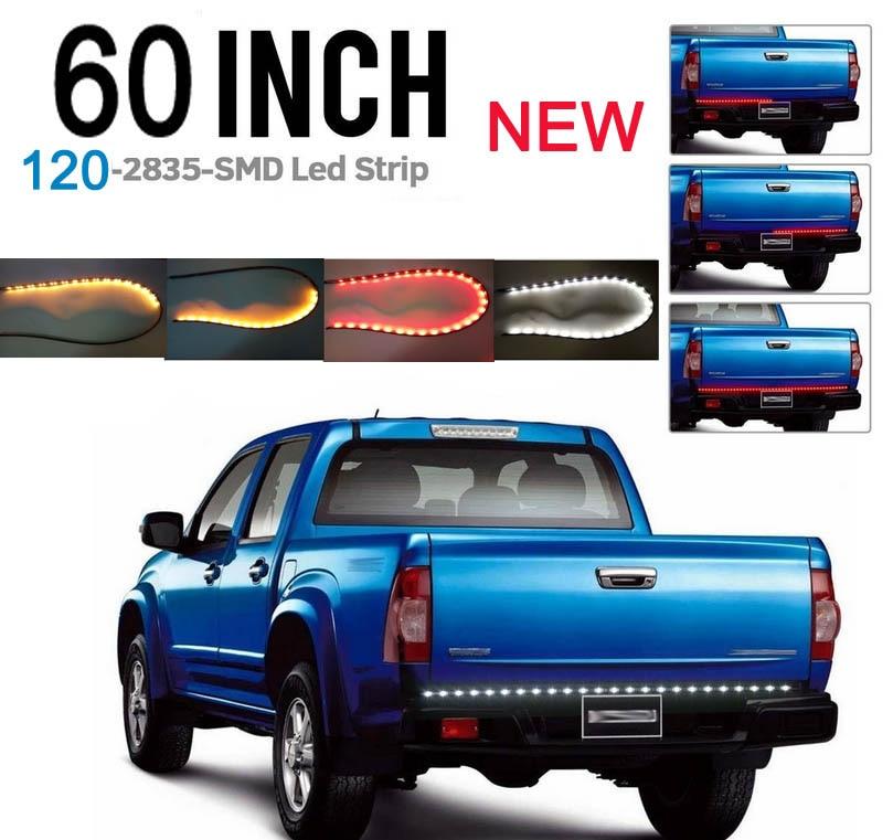 60 inch Red/White/yellow Tailgate Light Strip Bar NEW GEN 120 LEDs  for Reverse Running Brake Turn Signal for Pickup Truck SUV