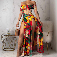 Fashion Bikini Women Summer Cover Up Boho Floral Print High Slit Long Maxi Beachwear Sundress Off Shoulder Backless Casual