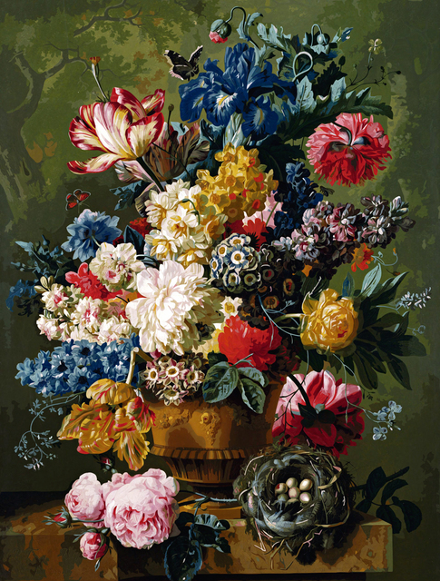 aesthetic blue flowers in vase oil painting picture by numbers hand paint drawing coloring by numbers