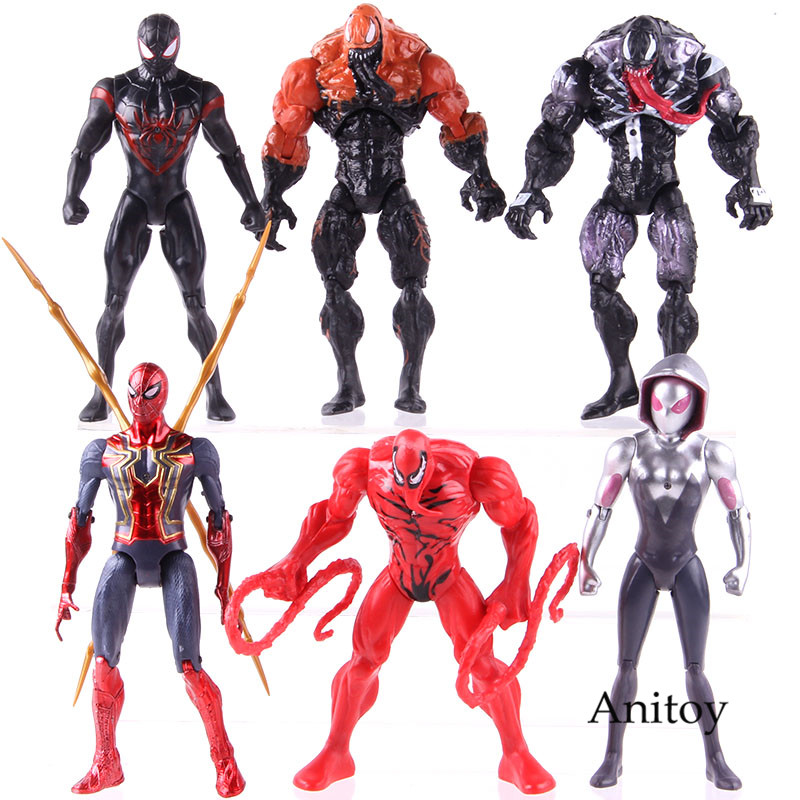 Marvel Spiderman Venom Carnage Miles Morales Gwen Stacy Thanos Thor Deadpool Captain America Action Figure Toys Set With Light