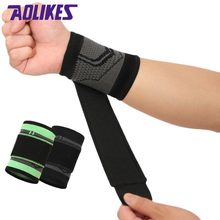 AOLIKES 1PCS 3D Weaving Sport Wristband Elastic Bandage Double Pressurized Gym Powerlifting Fitness Wrist Support Brace Straps(China)