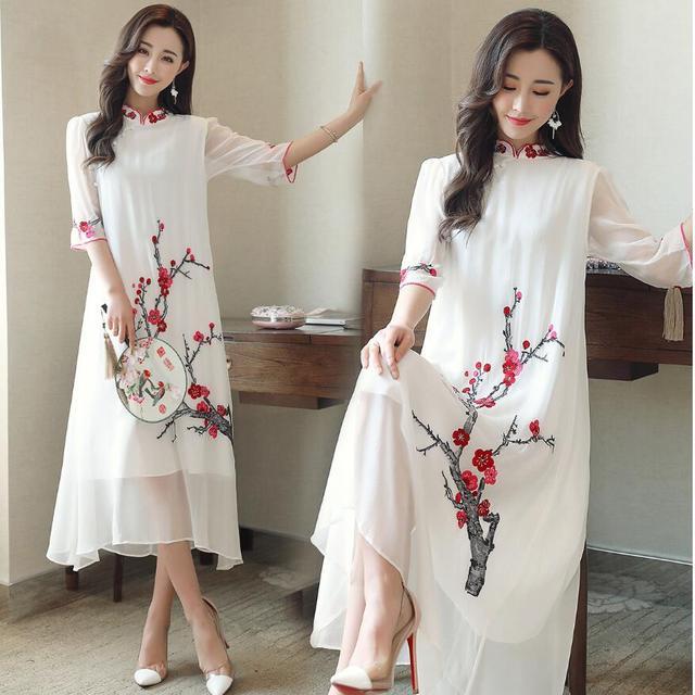 lowest price 933a4 e0c82 US $68.62 6% di SCONTO|Abbigliamento tradizionale cinese Plum blossom  modello vestito lungo estate qipao Cinese cheongsam dress robe Cinese  cheongsam ...
