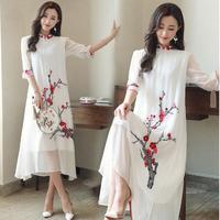 Chinese traditional Clothing Plum blossom pattern dress long summer qipao Chinese cheongsam dress robe Chinese modern cheongsam