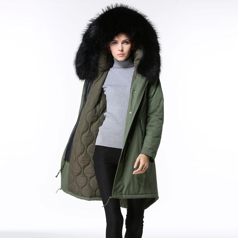 2016 Fashion Spring Autumn black raccoon fur collar filling cotton basic jacket