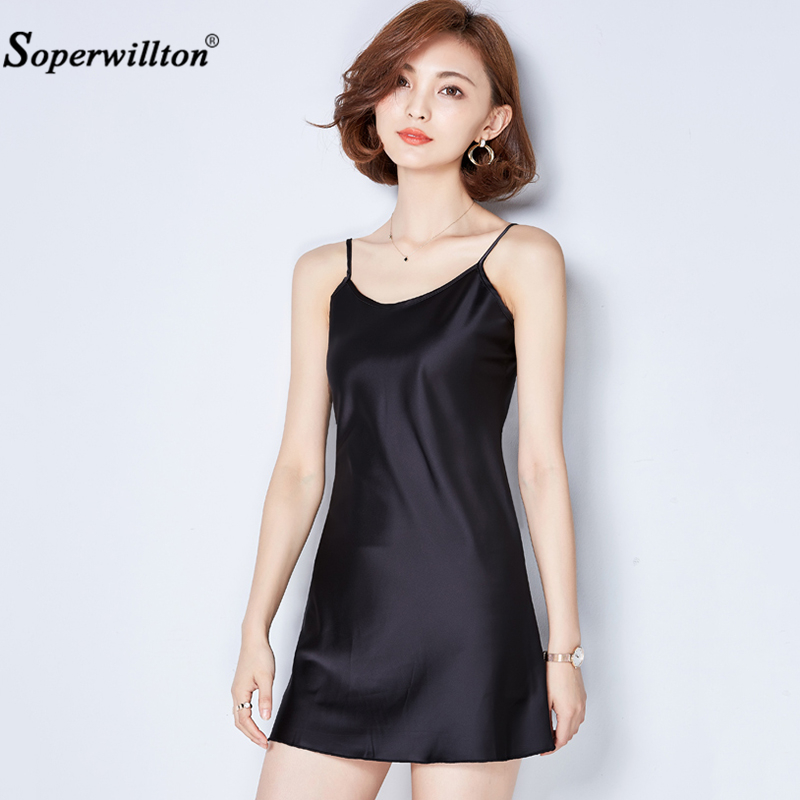 2be415c5728 New 2018 Summer Dress Women Sexy Bodycon Dress Solid Silk Sleeveless Dresses  Adjustable Straps Boho Femme