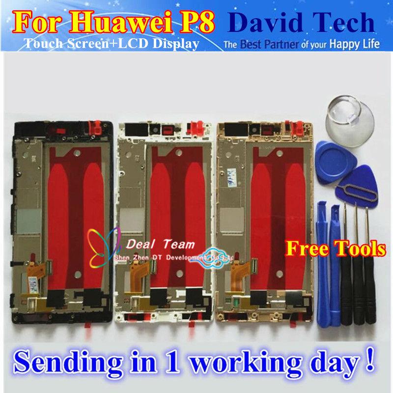 """Prix pour Haute qualité nouveau lcd display + écran tactile digitizer assemblée pour huawei ascend p8 téléphone gra-ul10 5.2 """"avec Cadre Livraison Gratuite"""