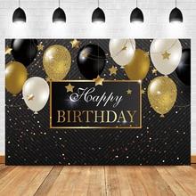 NeoBack wszystkiego najlepszego z okazji urodzin tło imprezowe czarny i złoty balon tło do zdjęć złota mała gwiazda tło fotografia tło