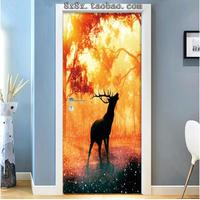 Waterproof wall stickers self adhesive door stickers wooden door renovation bedroom decoration landscape 3d stereo door sticke 6