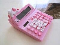 Hello Kitty Cartoon Solar Calculator Pink KT Cat Doll Cute Computer KT 520A