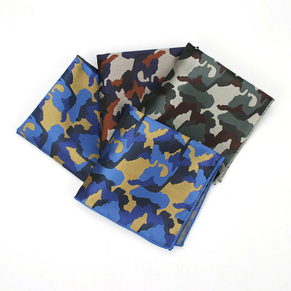 Men Vintage Blue Green Camouflage Pocket Square Handkerchief Wedding Hanky YFTIE0130