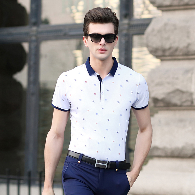 2016 Latest style men's summer fashion printing stripes short sleeve polo shirt