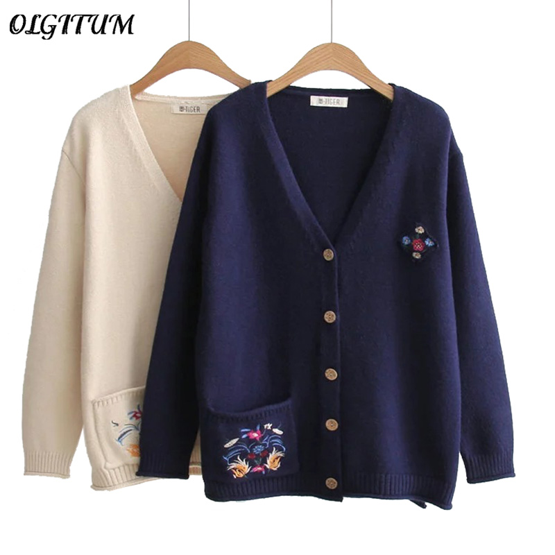 Hot 2018 New Autumn cardigan Women Casual Cute sweater pocket embroidered rabbit hair knit cardigan coat soft sweater cardigan