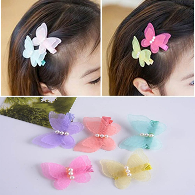 1pc Candy Color Bow Butterfly Hair Clips Kids Girls Princess Pearl Hair Grips Kids Hairpin   Headwear   Fashion Accessories