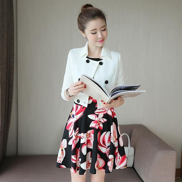 Vestido elegante Outono Mulheres New Arrivals Moda Vestido Estampado Floral ternos Para Senhoras 2016 Coreano Duas Peças Set Vestidos de Mulher vermelho