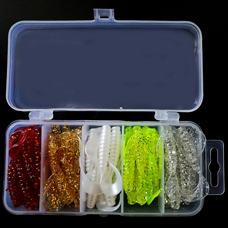 50pcs Soft Lures Set Box Classic Flexible Swimbaits Artificial Bait Silicone Lure Fishing Tackle Fishing Lures 50pcs soft lures 10pcs lead hooks set box classic flexible swimbaits artificial bait silicone lure fishing tackle fishing lures