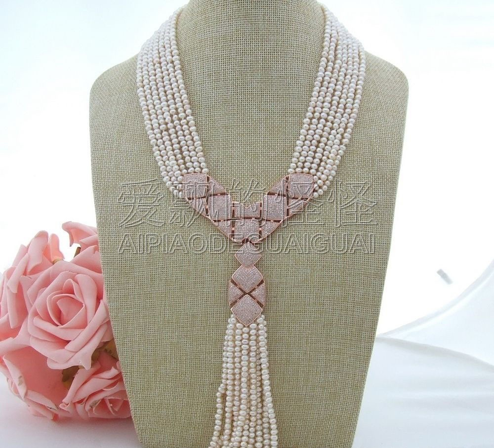 N071301 18''-21'' 7 Strands White Pearl Necklace CZ Pendant 20 23 7 strands green stone necklace cz pendant