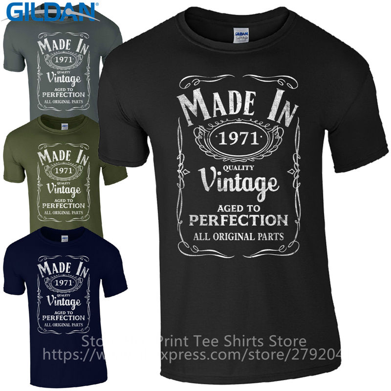 Top Quality 2017 Brand'S Men Loose Style Made In <font><b>1971</b></font> Born 46Th Year Birthday Age Present <font><b>Vintage</b></font> Broadcloth T Shirt image