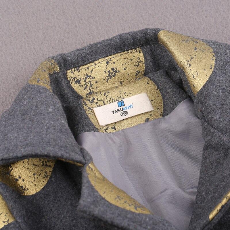 d0d3e078a76b YAKUYIYI New Spring Gray Foil Print Girls Coat Polka Dots Long ...