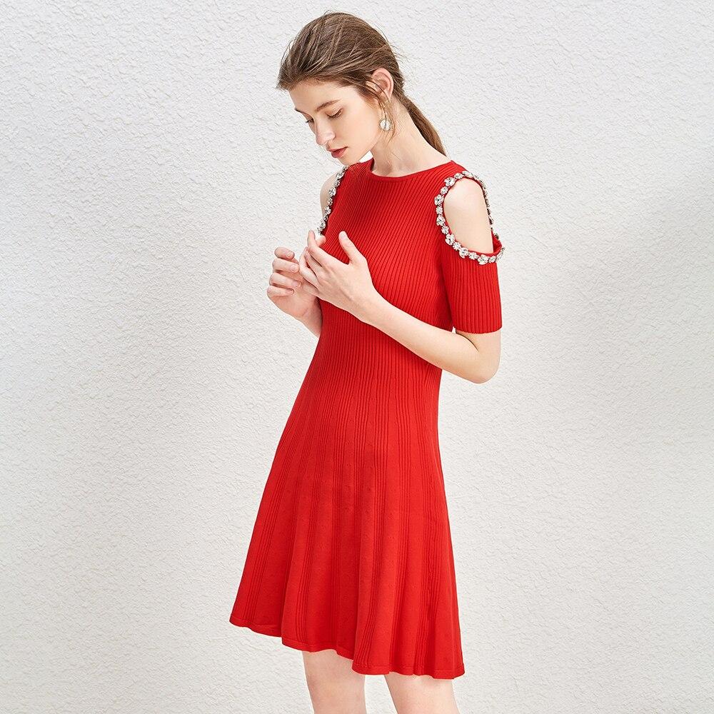 KENVY Marke Mode frauen High end Luxus Sommer Elegante Hohle Rot Oansatz Diamant Kurzen ärmeln Gestrickte Kleid-in Kleider aus Damenbekleidung bei  Gruppe 1