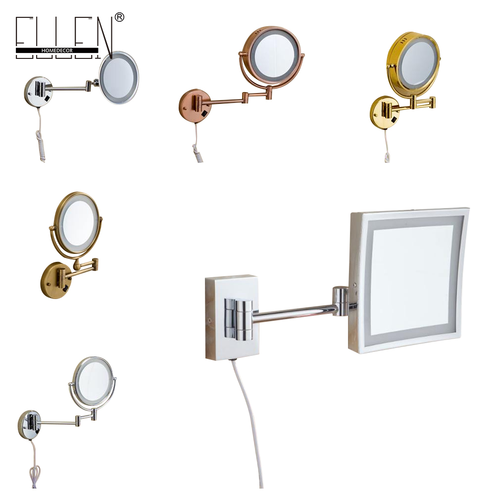 LED 8 inch Dual Arm Extend Bathroom Mirror with LED light 2-Face Wall Hanging Makeup Mirror bath 3 x Magnification large 8 inch fashion high definition desktop makeup mirror 2 face metal bathroom mirror 3x magnifying round pin 360 rotating