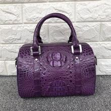 Fashion Lady Purse Genuine Crocodile Leather Womens Small Boston Bag Exotic Real Alligator Skin Zipper Closure Female Handbag