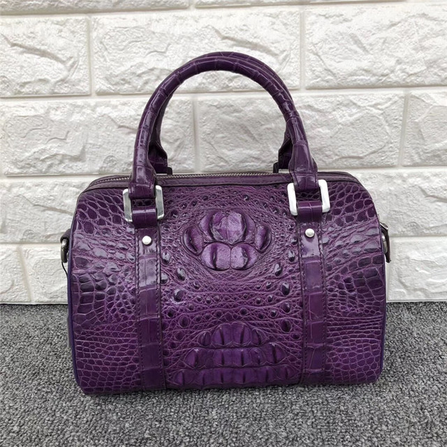 Fashion Lady Purse Genuine Crocodile Leather Womens Small Boston Bag Exotic Real Alligator Skin Zipper Closure Female Handbag