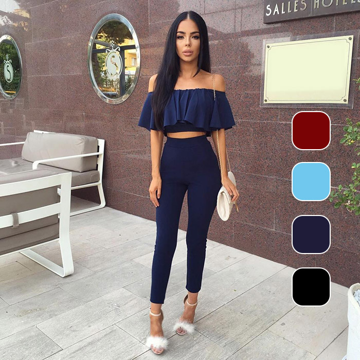 Fashion Women <font><b>Sexy</b></font> Two Piece Set Tops Pants Off Shoulder Ruffle Ladies Solid Color Blouse Tight Trousers Bodysuit <font><b>Ensemble</b></font> <font><b>Femme</b></font> image