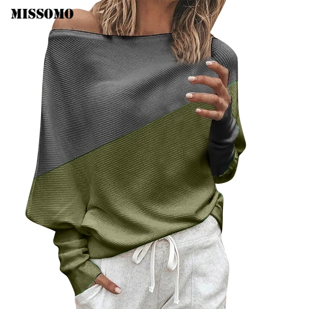 MISSOMO Clothes Women Sweater Off Shoulder Knitted Spring Winter Top Pullover Loose Batwing Long Sleeve Sweater Ladies Jumper 73