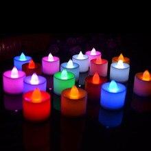 1pc led vela lâmpada multicolorido cor simulação flameless chá luz casamento casa festa de aniversário decoração do bolo velas