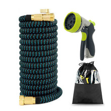 High quality 25-750FT garden hose expandable magic rubber plastic nozzle car wash sprayer watering set