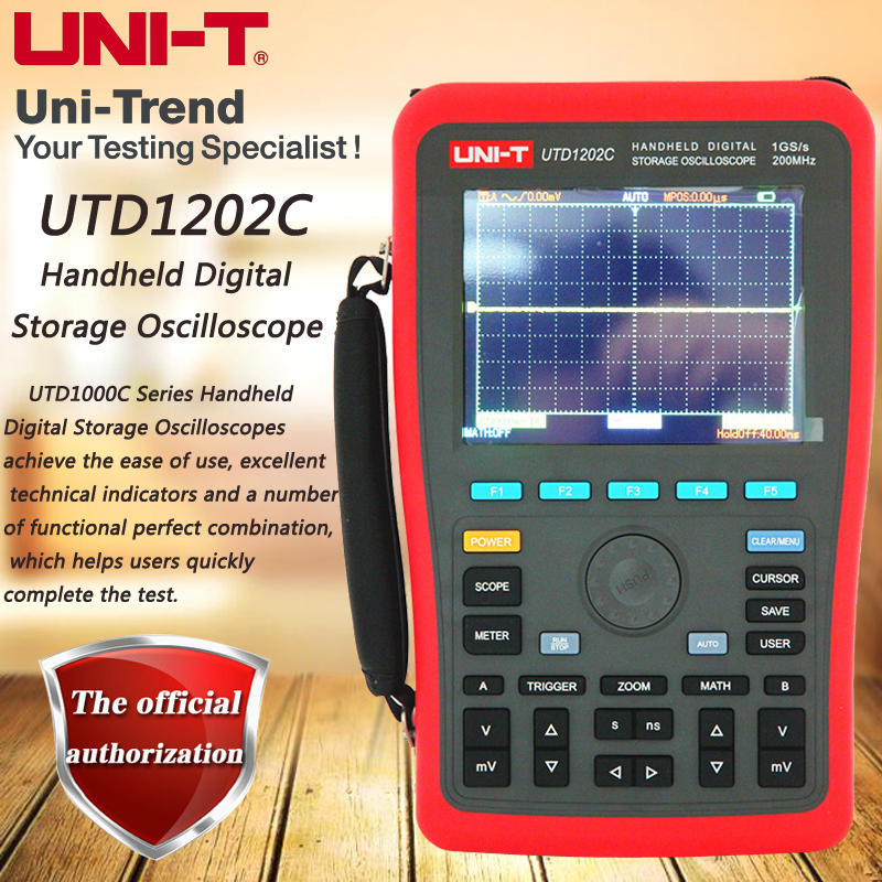 UNI-T UTD1202C Handheld <font><b>Digital</b></font> Storage <font><b>Oscilloscope</b></font>, 2-Channel / <font><b>200MHz</b></font> Bandwidth / 1GS/s Sample Rate image