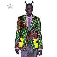African Bazin Riche Brand Clothing Elegant Long Sleeve Mens Jackets Blazer Men Casual African Print Cotton Mens Blazer BRW WYN55