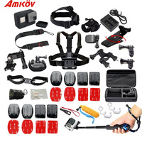 Amkov For Gopro Hero 5 6 Accessories Kits Helmet Harness Chest Head Mount Strap Belt Wrist