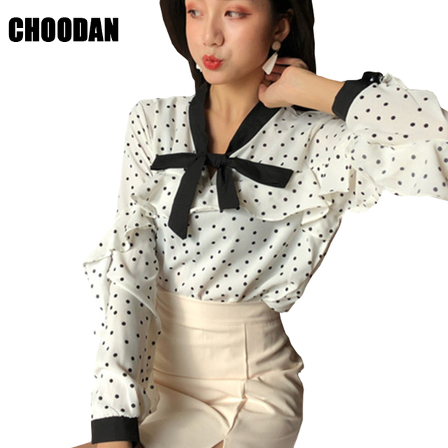 90a3c8bf2 polka dot shirt sweet bow ruffles long sleeve women blouses spring summer  2019 korean fashion shirts ladies tops womens clothing